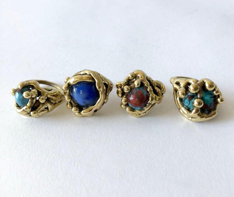 Michael Schwade Handmade Bronze with Blue Glass Organic Modernist Ring For Sale 3