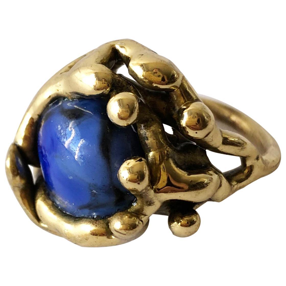 Michael Schwade Handmade Bronze with Blue Glass Organic Modernist Ring