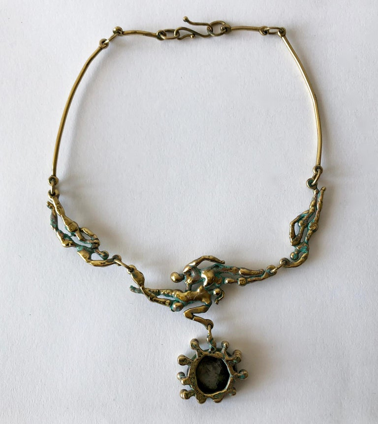 Michael Schwade Patinated Bronze Glass Nude Space Ballet Necklace In Excellent Condition For Sale In Los Angeles, CA