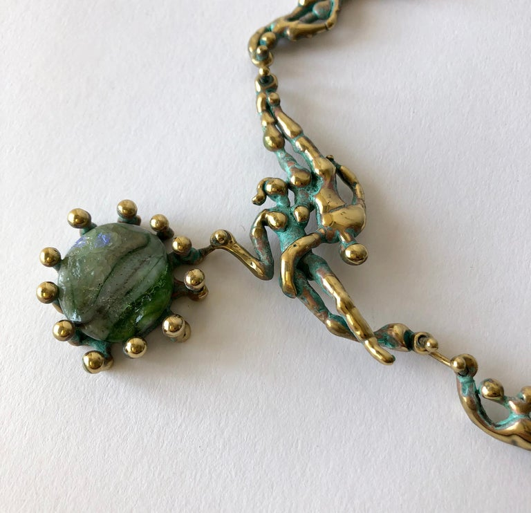 Women's Michael Schwade Patinated Bronze Glass Nude Space Ballet Necklace For Sale