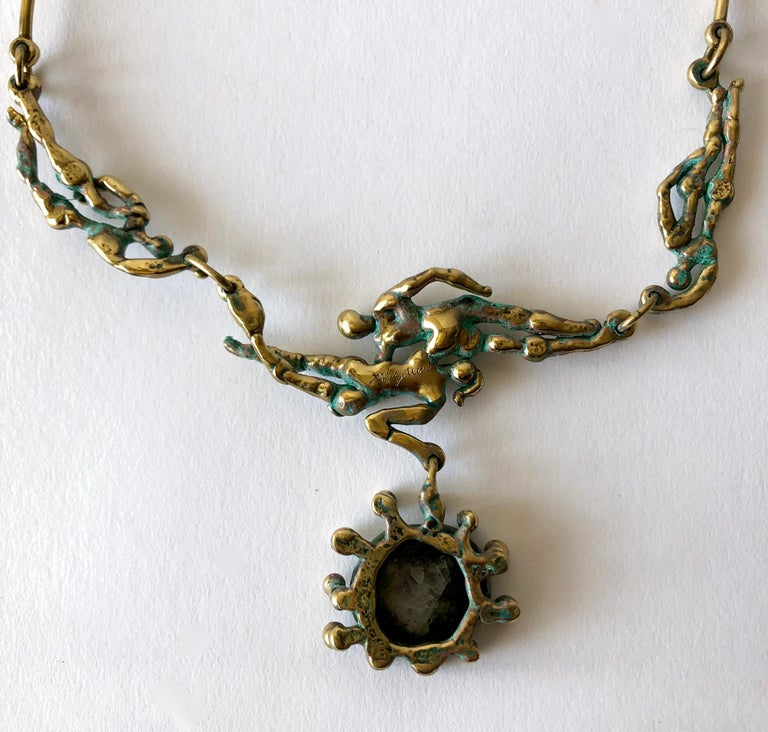 Michael Schwade Patinated Bronze Glass Nude Space Ballet Necklace For Sale 1