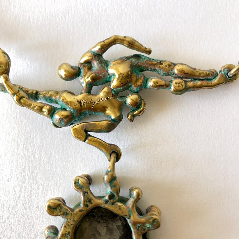 Michael Schwade Patinated Bronze Glass Nude Space Ballet Necklace For Sale 2