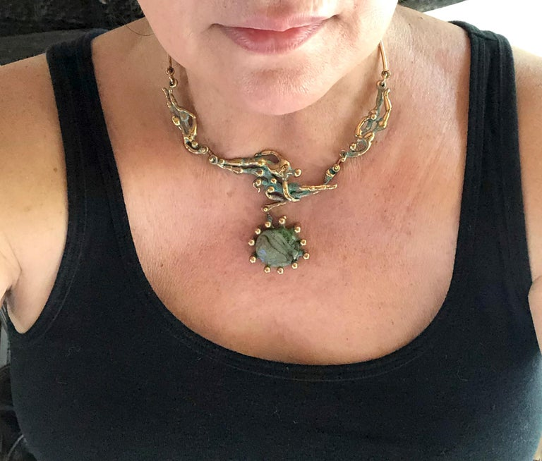 Michael Schwade Patinated Bronze Glass Nude Space Ballet Necklace For Sale 3