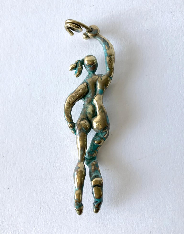 Michael Schwade Patinated Bronze Goddess Pendant In Excellent Condition For Sale In Los Angeles, CA