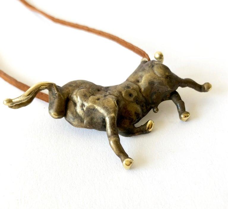 Artisan Michael Schwade Torch Welded Sculptural Bronze Bull Pendant Necklace For Sale