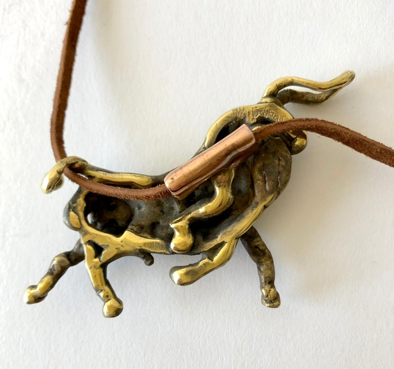 Michael Schwade Torch Welded Sculptural Bronze Bull Pendant Necklace In Excellent Condition For Sale In Los Angeles, CA
