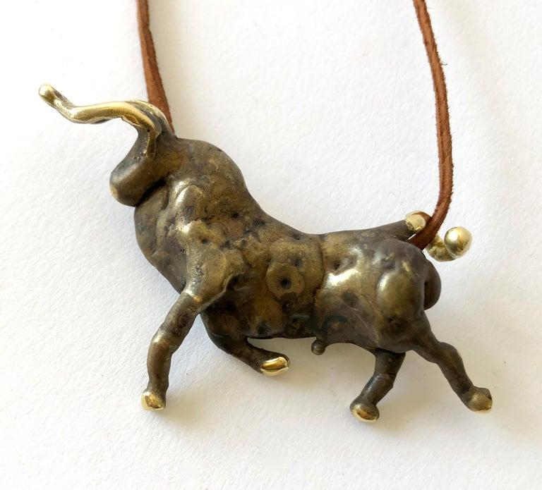 Women's or Men's Michael Schwade Torch Welded Sculptural Bronze Bull Pendant Necklace For Sale