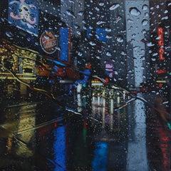 Blue 42 original NYC CITY  landscape painting Contemporary realism