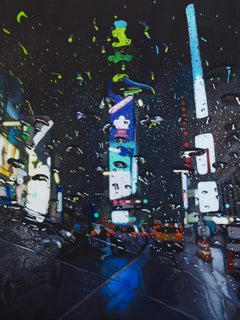 Blues of the Broadway-original cityscape oil painting modern contemporary 21st C