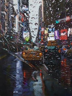 City in Tears - original cityscape oil painting contemporary modern art - 21st C