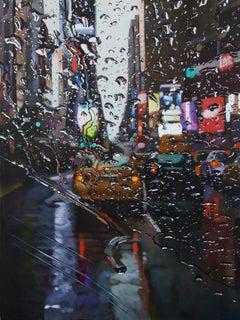 City in Tears - original realism cityscape rain artwork contemporary modern