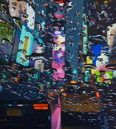 Colourful City - original New York taxi Contemporary Cityscape oil painting