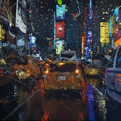 Electric Rain-original New York Cityscape-contemporary realism oil painting