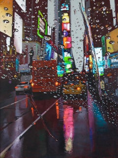 Electric Rainbow - cityscape oil painting modern contemporary art buildings neon
