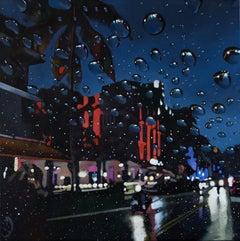 Miami Rain - original MiamI city night realism landscape painting