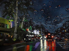 Palm Trees and City Lights - Miami neon  landscape painting contemporary