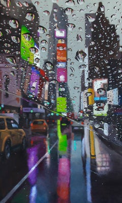 Reflecting on Those Times - NY Cityscape painting contemporary art-21st Centu