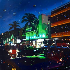 Reflections in Neon - original Miami city realism modern landscape painting