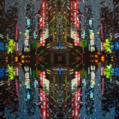 Reflective Times NYC - cityscape oil painting contemporary modern art New York