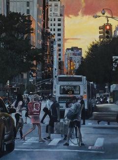 Sunset on Chelsea Hotel New York Cityscape oil painting Contemporary modern Art