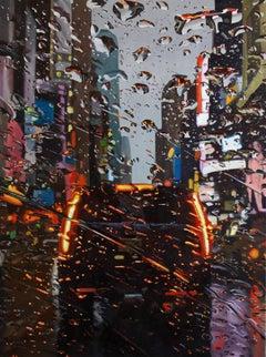 the Fire in Rain original New York CITY landscape oil painting Contemporary Art