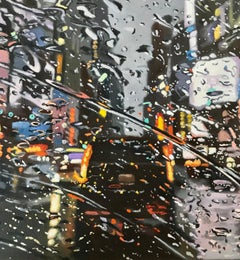 Times Rains NewYork - NYC city oil landscape painting contemporary modern art