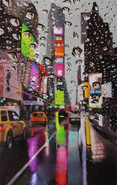 Times Reflected NYC  Cityscape painting contemporary art-21st Centu