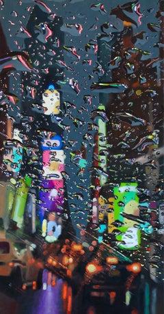 Violet Nights - NY Cityscape painting contemporary art 21st Century