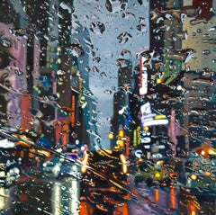 Wet City  original New York Cityscape oil painting