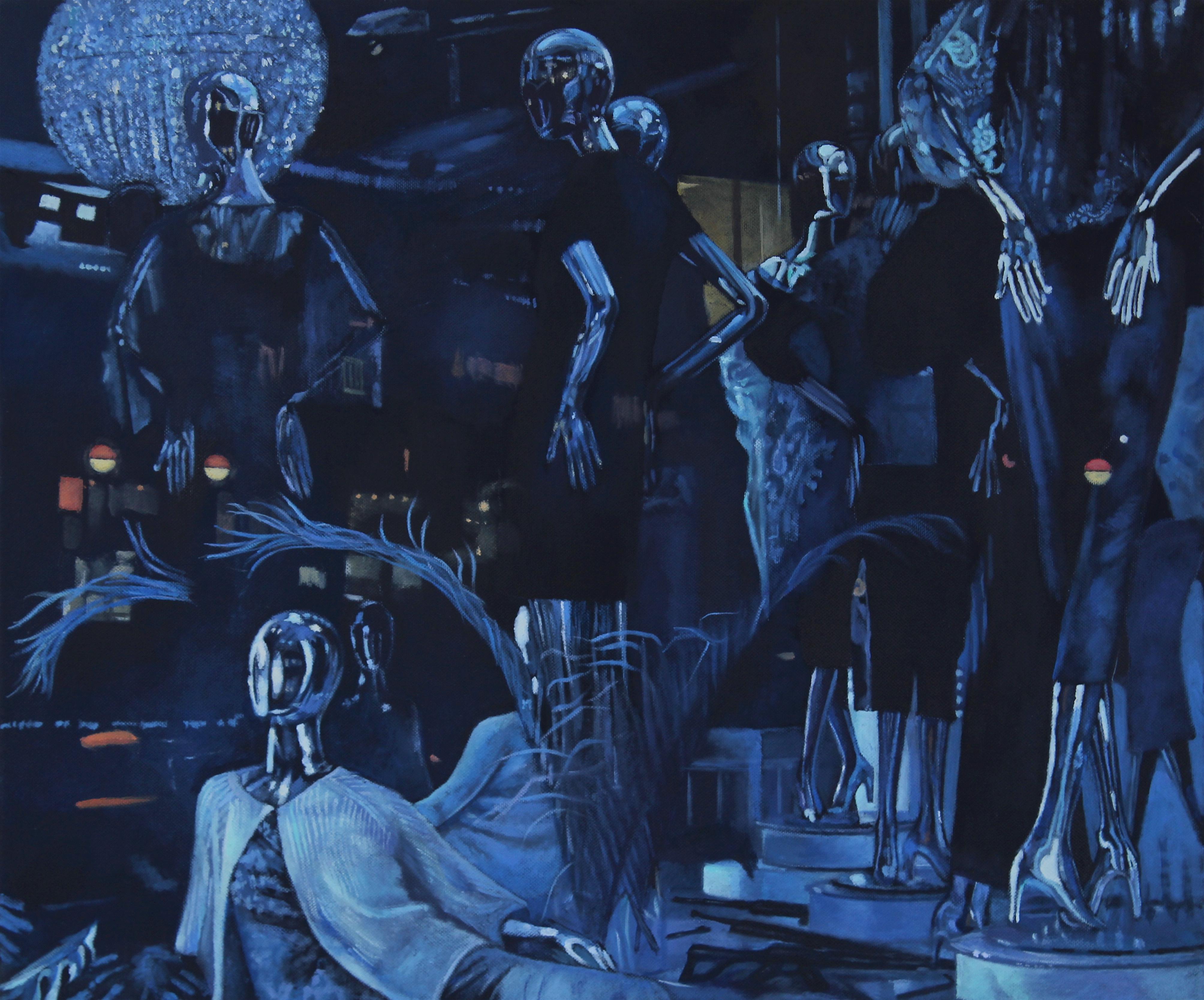 World of Sacredness - original abstract blue figures human artwork contemporary