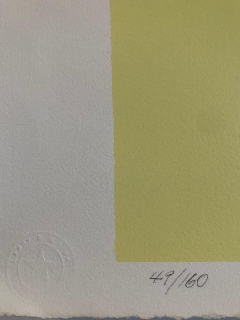 1980s Abstract Expressionism Color Field Silkscreen Serigraph Print Pale Yellow For Sale 1