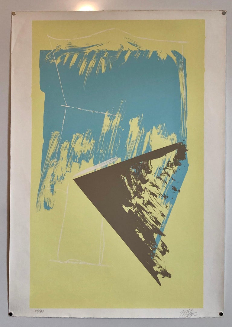 1980s Abstract Expressionism Color Field Silkscreen Serigraph Print Pale Yellow For Sale 5