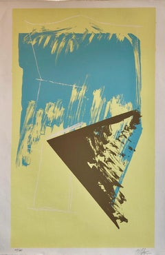 1980s Abstract Expressionism Color Field Silkscreen Serigraph Print Pale Yellow