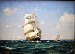 """""""Ship at Full Sail"""", post-impressionist seascape of Clipper ship, oil on canvas"""