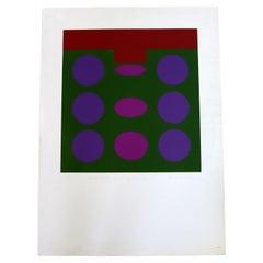 Michael Stokoz Untitled Purple Circles 1969 Modern Serigraph Unframed