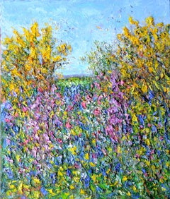 Cornish Hedge, Late Spring. Contemporary Landscape Oil Painting