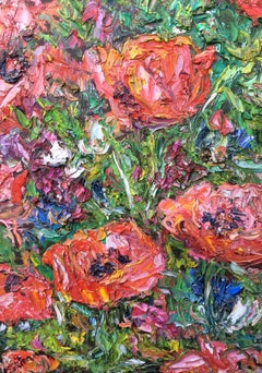 Elsie's Poppies. Contemporary Impressionist Oil painting
