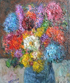 Gulval,Summer Bouquet: Contemporary Still Life Oil Painting by Michael Strang
