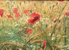 Poppies In Barley Field, English Landscape Oil Painting