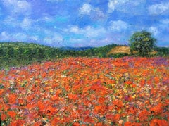 Poppy Field, English Contemporary Impressionist Landscape Oil Painting