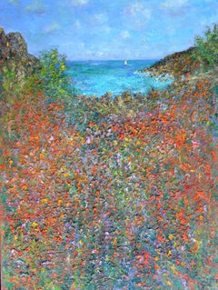 Summer, Porthgwarra, England: Contemporary Land/Seascape by Michael Strang