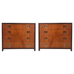 Michael Taylor Baker 4 Drawer Chests with Brass Ring Hardware, a Pair