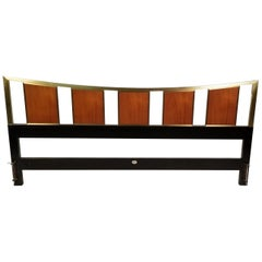 Michael Taylor Brass & Teak King Headboard for the Baker Far East Collection