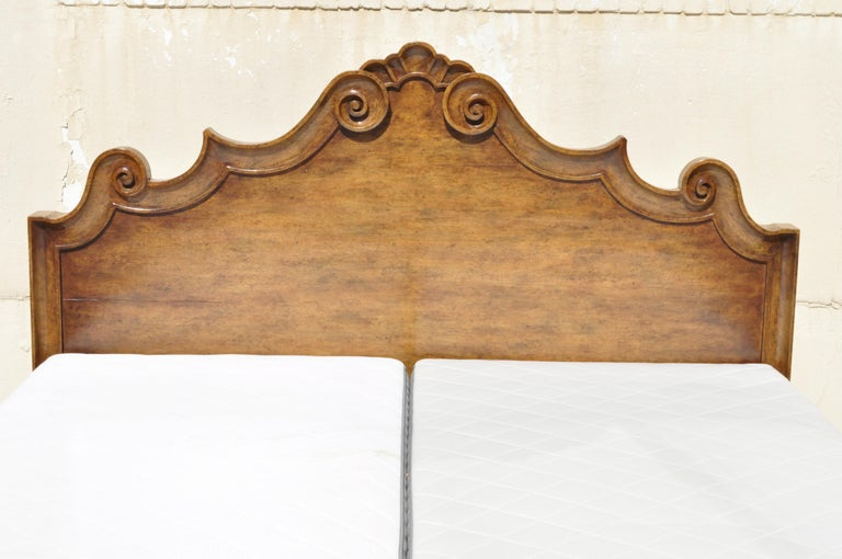 American Michael Taylor Designs Italian Bed King Size Wood Bed Frame Venetian Style For Sale