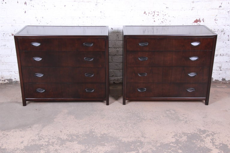 An exceptional pair of bachelor chests or large nightstands designed by Michael Taylor for his