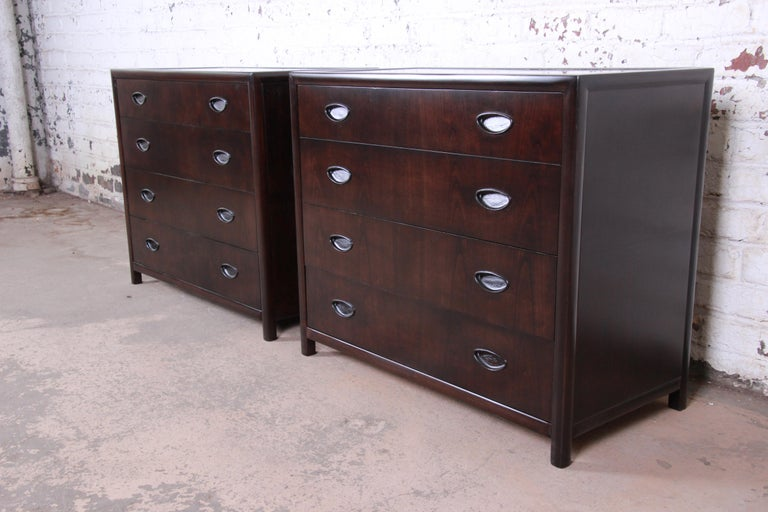 Mid-Century Modern Michael Taylor for Baker Bachelor Chests or Large Nightstands, Newly Restored For Sale