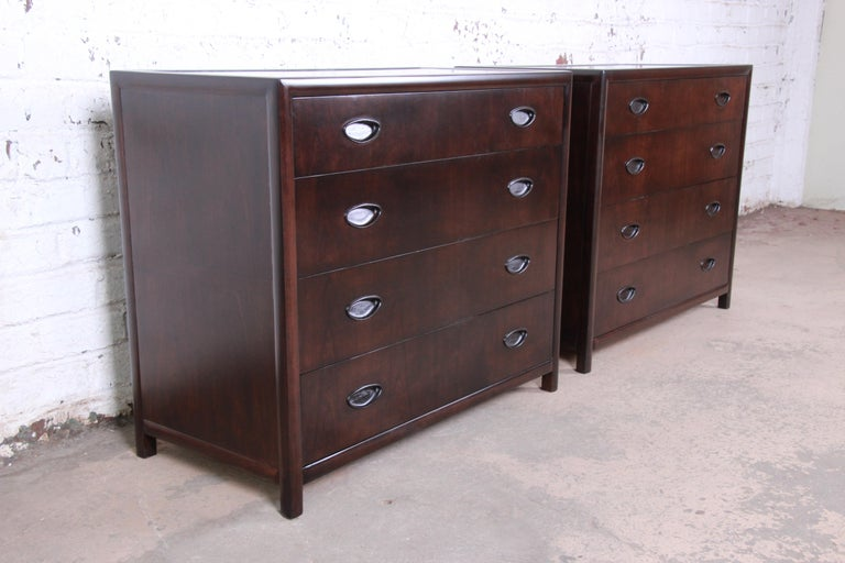 American Michael Taylor for Baker Bachelor Chests or Large Nightstands, Newly Restored For Sale