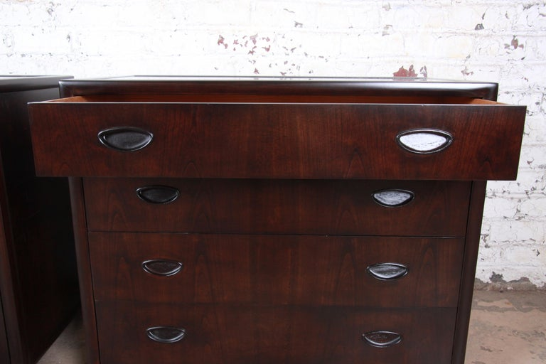 Mid-20th Century Michael Taylor for Baker Bachelor Chests or Large Nightstands, Newly Restored For Sale