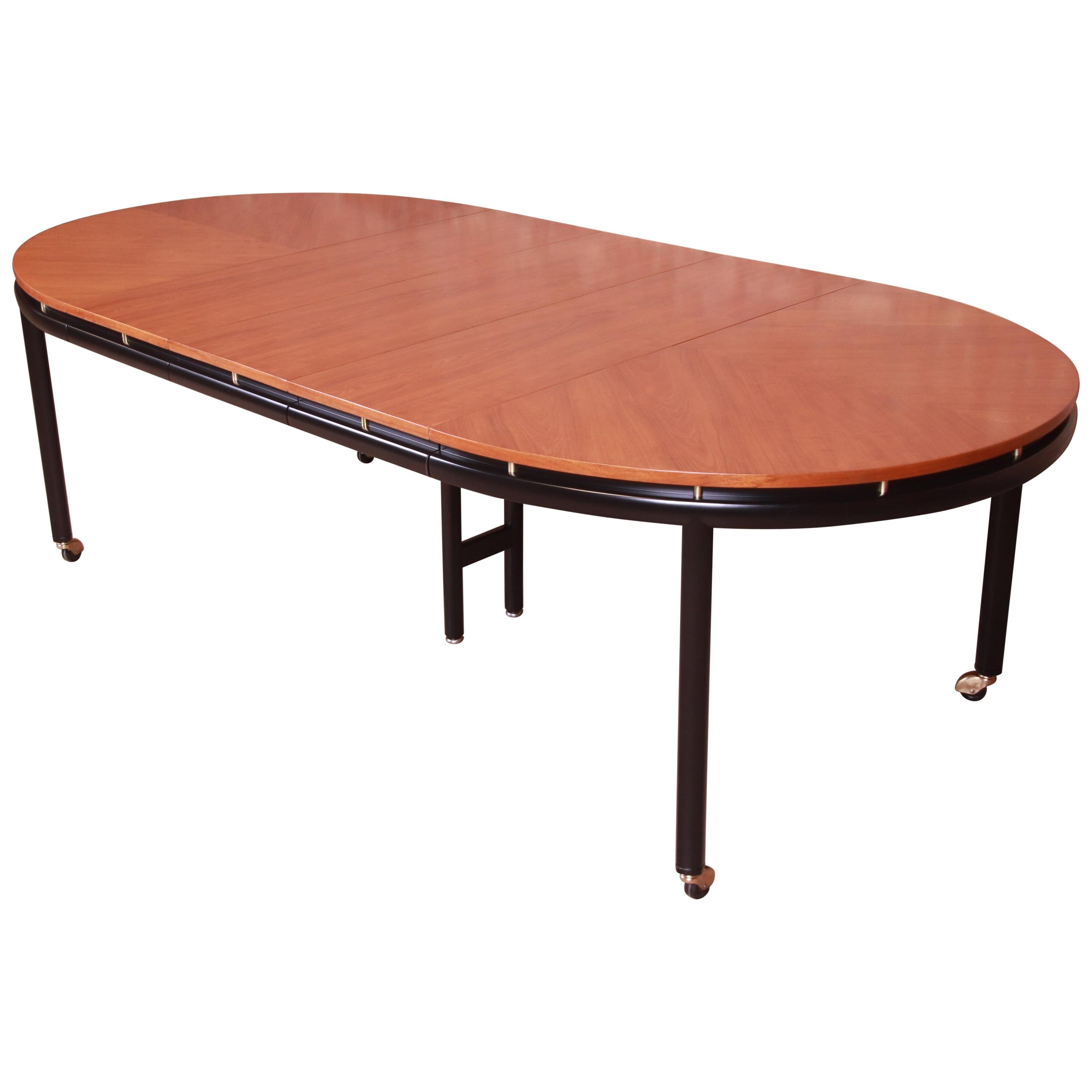 Michael Taylor for Baker Cherrywood and Black Lacquer Dining Table, Refinished
