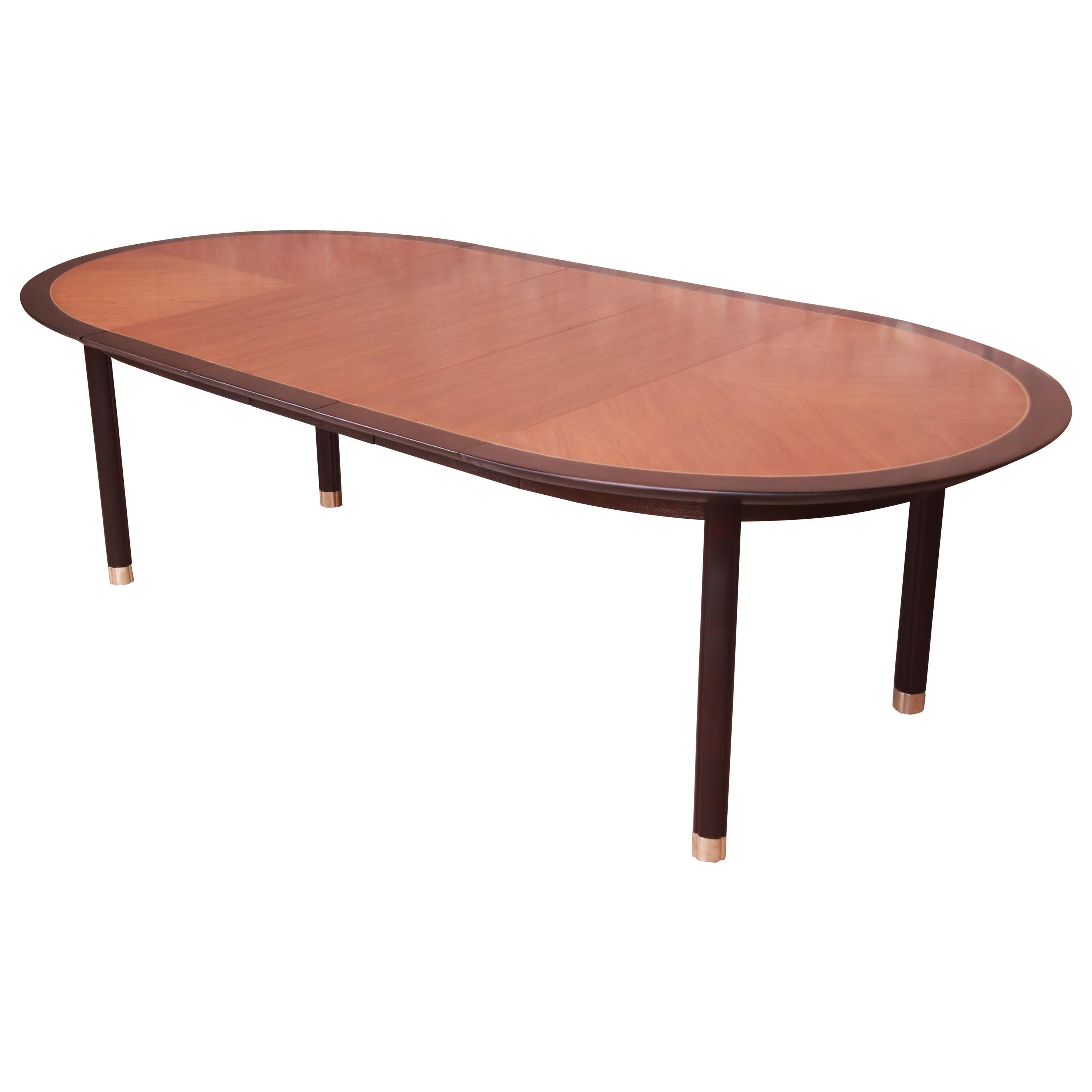 Michael Taylor for Baker Cherry Wood and Black Lacquer Extension Dining Table